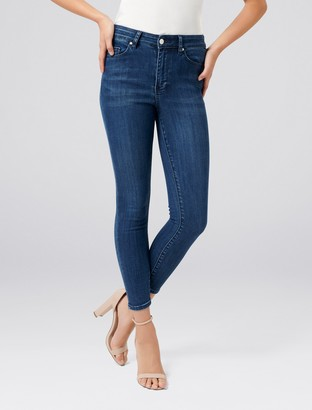 Forever New Cleo Petite High-Rise Ankle Grazer Jeans - Regent Blue - 16