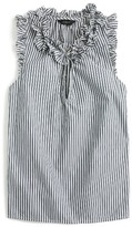 J.Crew Women's Ruffle Stripe Cotton Poplin Top
