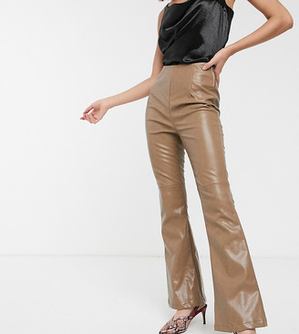 Glamorous high waist flared trousers in soft faux leather
