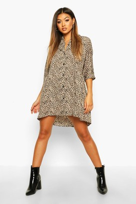boohoo Leopard Button Through Smock Dress