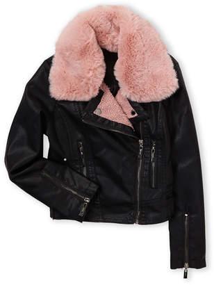 Joujou Jou Jou (Girls 7-16) Faux Fur-Collar Faux Leather Jacket