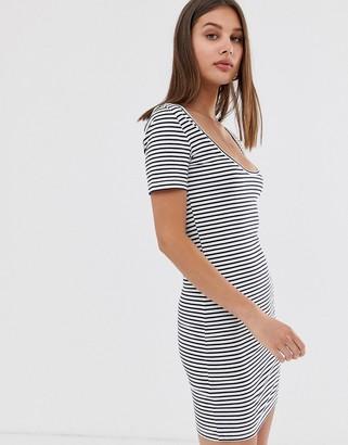 Only scoop neck t-shirt dress-Grey