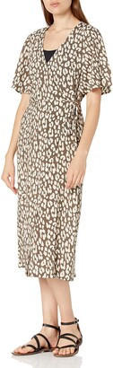 Seafolly Women's Leopard Print Short Sleeve Wrap Dress