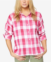 Sanctuary Cotton Buffalo Plaid Boyfriend Shirt