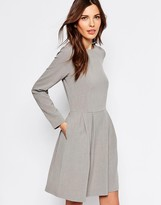 Selected Trina Long Sleeve Dress with Pleat Skirt