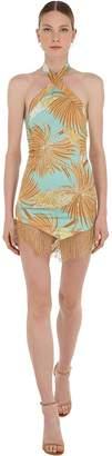 De La Vali Embellished Palm Print Mini Dress