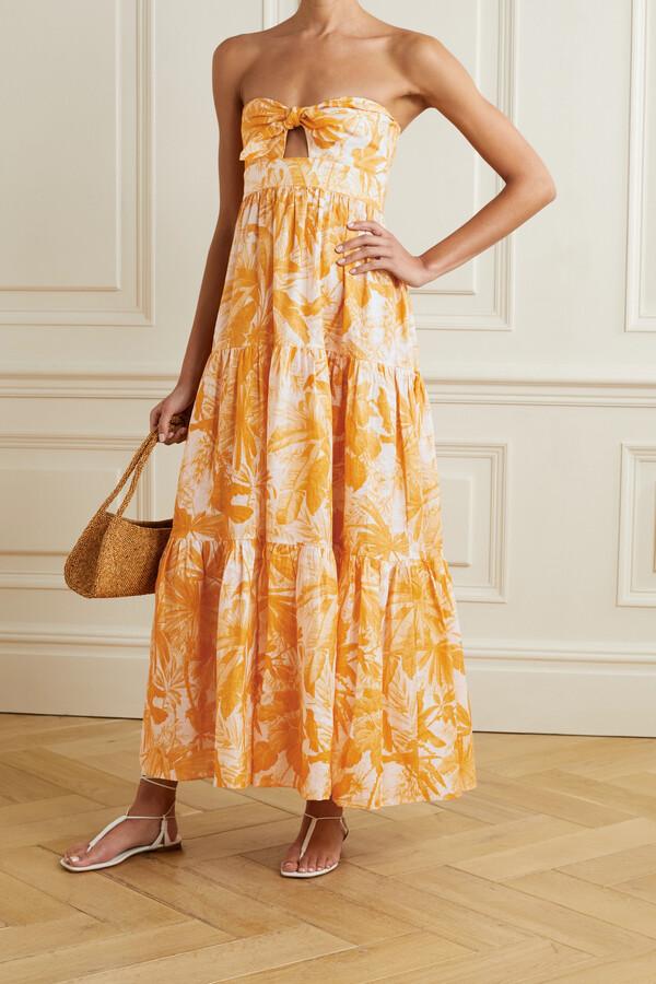 Zimmermann Mae Cutout Tie-detailed Printed Linen Maxi Dress - Orange