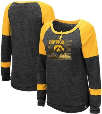 Colosseum Women's Heathered Black Iowa Hawkeyes Miranda Henley Raglan Long Sleeve T-Shirt