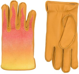 Kagawa Gloves Gradient-Effect Flame Applique Gloves