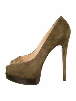 Christian Louboutin Suede Peep-Toe Pumps Green