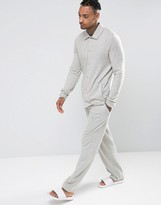 Asos Straight Pajama Bottoms In Brushed Woven Texture