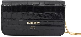 Burberry Embossed Leather Wallet With Detachable Chain Strap