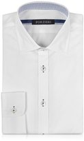 Forzieri White Cotton w/Contrast Stitching Slim Fit Shirt
