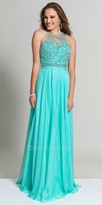 Dave and Johnny Beaded Illusion Racer Back Prom Dress