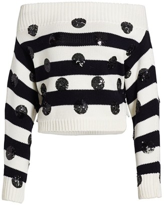 Monse Dotted Stripe Off-The-Shoulder Wool Knit Sweater