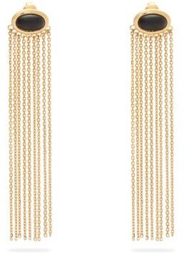 Aurelie Bidermann Bronx Onyx And 18kt Gold-plated Clip Earrings - Gold