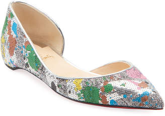 Christian Louboutin Iriza Sequin Red Sole Ballet Flats