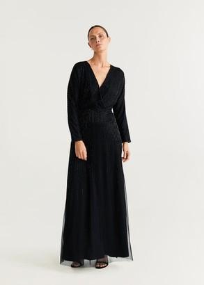 MANGO Long beaded dress black - 4 - Women