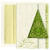 Hortense B. Hewitt 16ct Greetings Green Holiday Boxed Cards