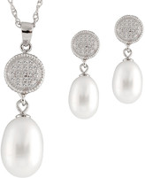 Splendid Pearls Silver 7-7.5Mm Freshwater Pearl & Cz Necklace & Drop Earrings Set