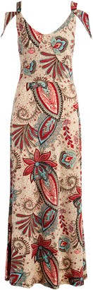 Modern Touch Women's Casual Dresses Red - Red & Blue Paisley Shoulder Cutout Maxi Dress - Women