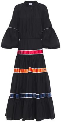 Stella Jean Flared Satin-trimmed Cotton-poplin Maxi Dress