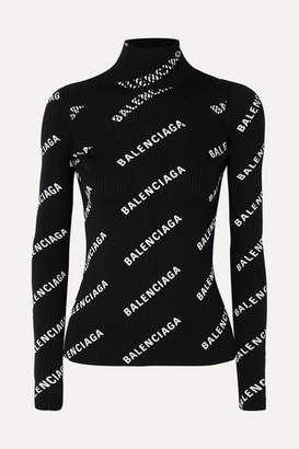 Balenciaga Open-back Printed Ribbed-knit Turtleneck Sweater - Black