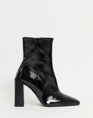 ASOS DESIGN Erico premium leather patent heeled boots in black