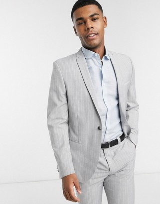 Viggo recycled polyester slim fit suit jacket in light gray with pinstripe
