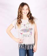 Gray Feather 'Free Spirit' Fringe Tee - Girls