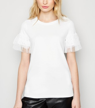 New Look Faux Pearl and Mesh Trim Top