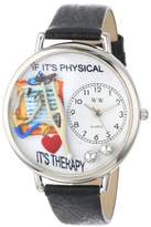Whimsical Watches Physical Therapist Black Skin Leather and Silvertone Unisex Quartz Watch with White Dial Analogue Display and Multicolour Leather Strap U-0620022