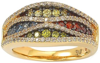 Suzy Levian 14K Gold Plated Sterling Silver Multicolor Pave Ring