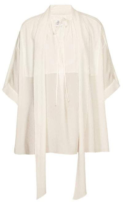 36dde710 Tie Neck Crepe Blouse - Womens - White