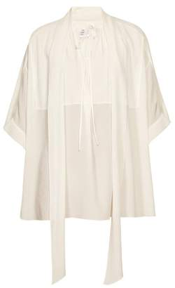 Chloé Tie-neck Crepe Blouse - Womens - White
