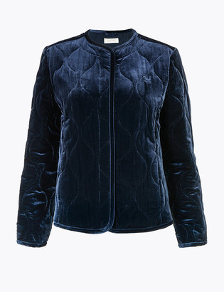 Marks and Spencer Velvet Quilted & Padded Jacket