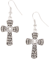 Carole Crystal & Stainless Steel Beaded Cross Drop Earrings