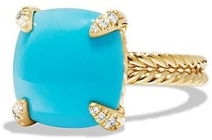 David Yurman Chatelaine Ring with Turquoise & Diamonds in 18K Yellow Gold