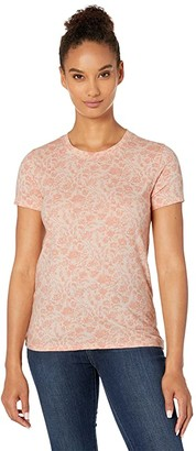 Lucky Brand Floral Tee (Peach Whip) Women's Clothing