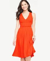 Ann Taylor Pleated V-Neck Flare Dress