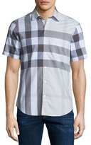 Burberry Exploded Check Short-Sleeve Twill Shirt, Pale Stone