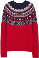 Moncler Red Fair Isle Wool Blend Jumper