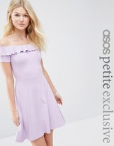 Asos Ruffle Off Shoulder Skater Dress