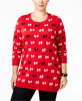 Charter Club Plus Size Bow-Print Sweater, Only at Macy's