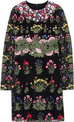 Valentino Floral-appliqued Cotton-blend Guipure Lace Mini Dress