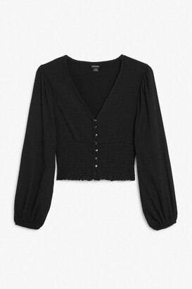 Monki Shirred waist blouse
