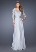La Femme 19137 Illusion Bateau Neck A-Line Dress