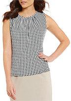 Calvin Klein Petites Check Stripe Print Matte Jersey Shell