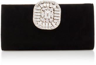 Jimmy Choo Leonis Crystal-Embellished Suede Clutch