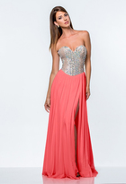 Terani Couture 151P0382A Strapless Sweetheart Chiffon Gown